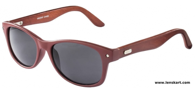 Vincent Chase VC-2001 Maroon Brown Grey Unisex Wayfarer Sunglasses